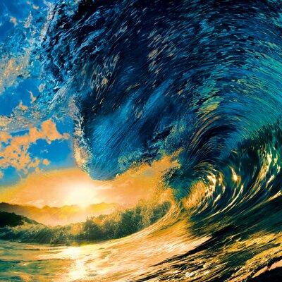 Eurographics Sunset Ocean Wave Photographic Print Glass Wall Art