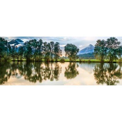 Eurographics Silent Sunset At The Lake Photographic Print Glass Wall Art