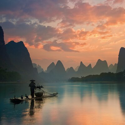 Eurographics Golden Li River Photo Print Graphic Art Glass Art