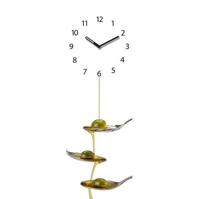 Eurographics Time Art Olive Oil on Spoons Wall Clock