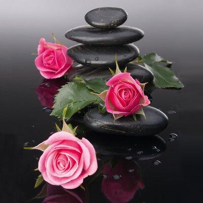 Eurographics Roses On Spa Stones Photographic Print Glass Art