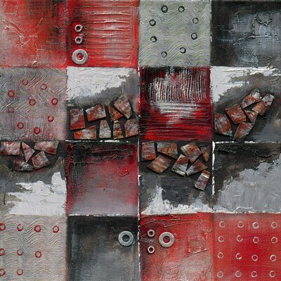 Eurographics Patchwork Metal - Red I Framed Wall Art on Canvas