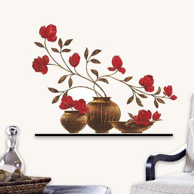 """Eurographics """"Red Floral Vase"""" Wall Sticker"""