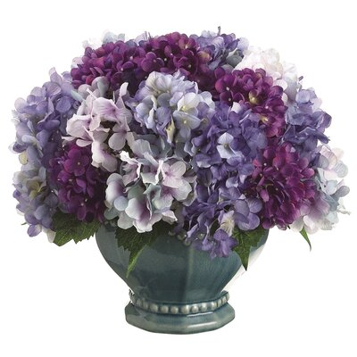 Tori Home Hydrangea Mix with Pedestal Bowl