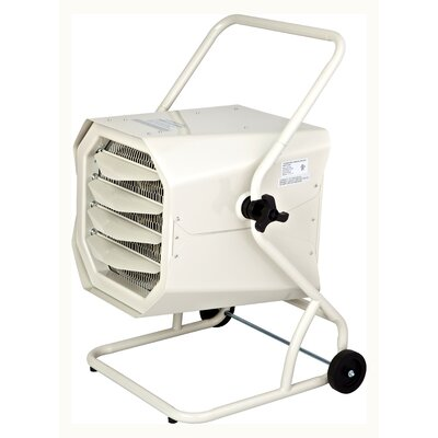 10,000 Watt Wall Mounted Electric Forced Air Heater with Cart and Adjustable Thermostat