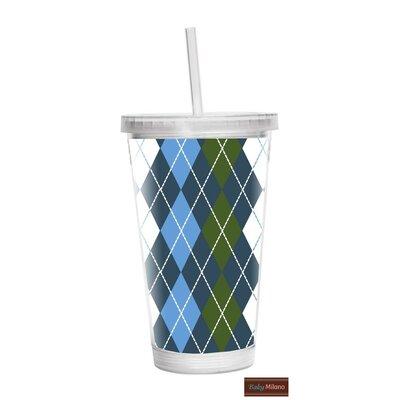Argyle 16 oz. Plastic Travel Tumbler Color: Blue