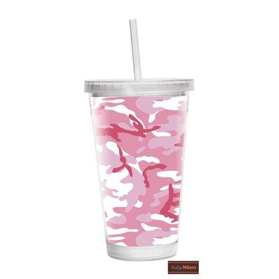 Camo 16 oz. Plastic Travel Tumbler Color: Pink