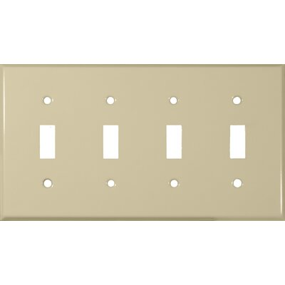 Morris Products Four Gang and Toggle Switch Metal Wall Plates in Ivory