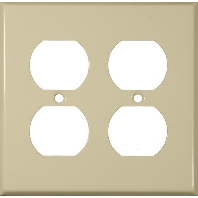 Morris Products Two Gang and Duplex Receptacle Metal Wall Plates in Ivory