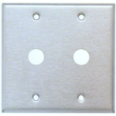 """Morris Products 0.41"""" Two Gang Cable Metal Wall Plates in Stainless"""