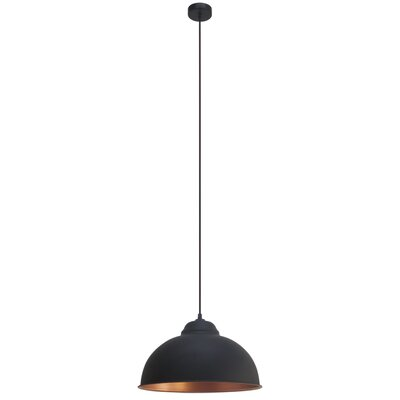 Eglo Vintage 1 Light Bowl Pendant Light in Black