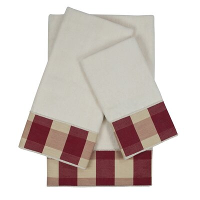 Holbrook Checkered Cord 3 Piece 100% Cotton Towel Set Color: White/Red
