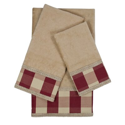 Holbrook Checkered Cord 3 Piece 100% Cotton Towel Set Color: Taupe/Red