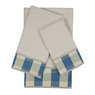 Holbrook Checkered Cord 3 Piece 100% Cotton Towel Set Color: White/Blue