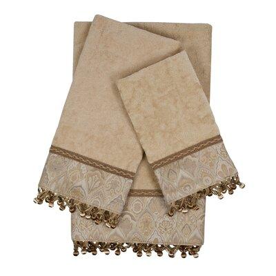 Mandalay 3 Piece 100% Cotton Towel Set Color: Taupe