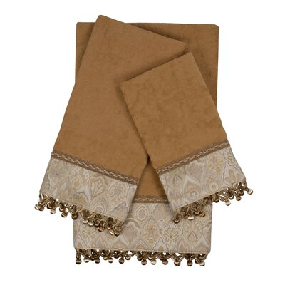 Mandalay 3 Piece 100% Cotton Towel Set Color: Beige