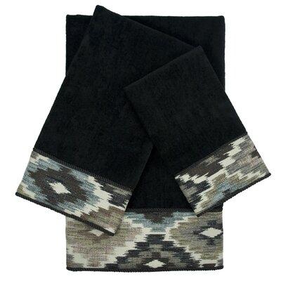 Maricopa Embellished 3 Piece 100% Cotton Towel Set Color: Black