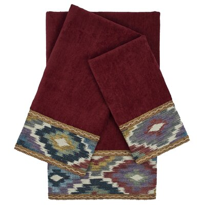 Maricopa Embellished 3 Piece 100% Cotton Towel Set Color: Red