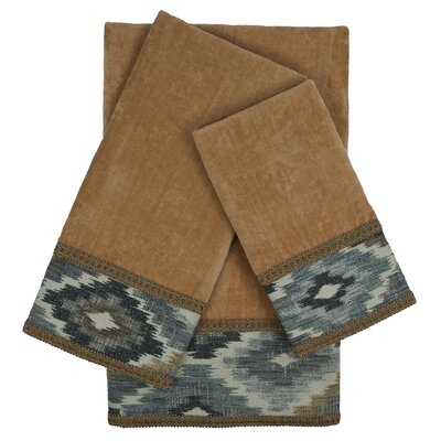 Maricopa Embellished 3 Piece 100% Cotton Towel Set Color: Nugget