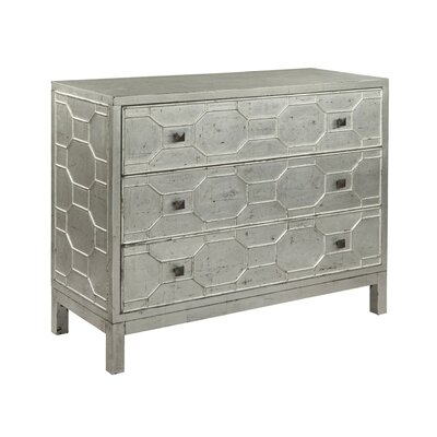 Lattice Faced 3 Drawer Accent Chest Color: Silver