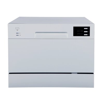 "21.65"" 55 dBA Countertop Dishwasher with Delay Start and LED Finish: Silver"