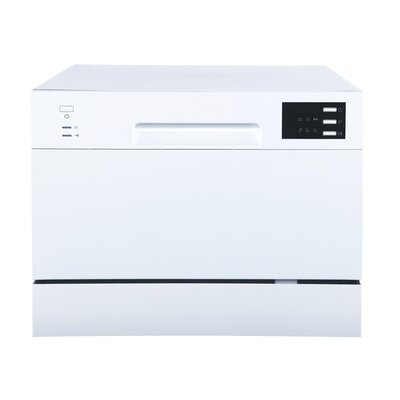 "21.65"" 55 dBA Countertop Dishwasher with Delay Start and LED Finish: White"