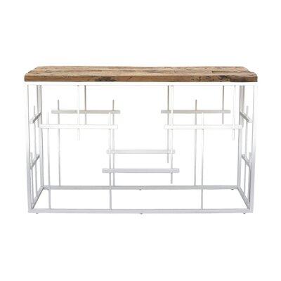 "Jozwiak Console Table Size: 31.5"" H x 51"" W x 14'' D, Table Top Color: Natural, Table Base Color: White"