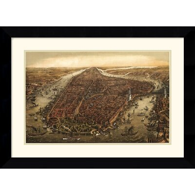 Amanti Art 'New York,1873' by Ward Maps Framed Painting Print
