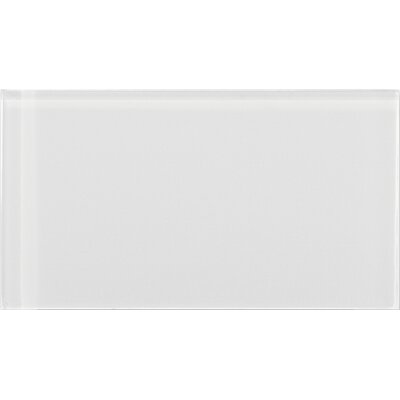 """Lucente 3"""" x 6"""" Glass Subway Tile in Blanc"""