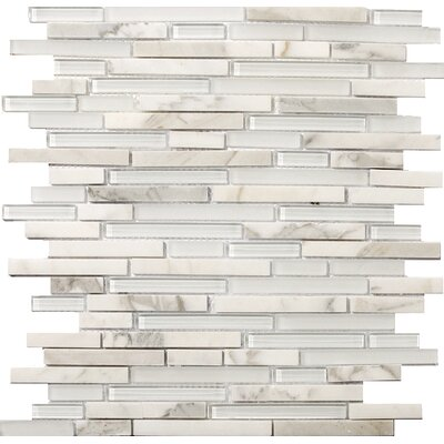 """Lucente 12"""" x12"""" Glass Stone Blend Linear Mosaic Tile in Ambrato"""