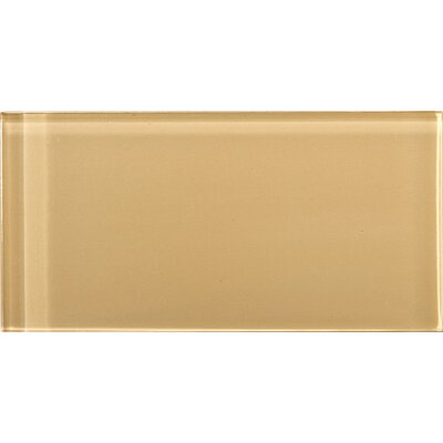 """Lucente 3"""" x 6"""" Glass Subway Tile in Honey"""