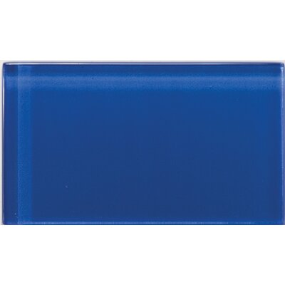 """Lucente 3"""" x 6"""" Glass Subway Tile in Azul Royale"""