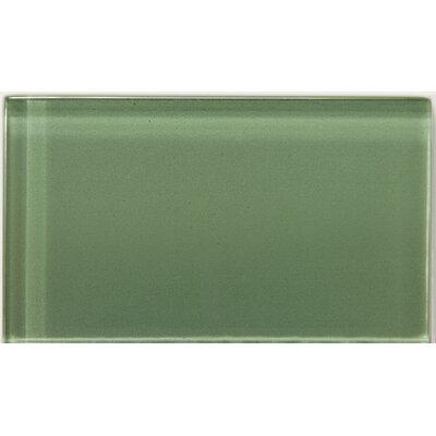 "Lucente 3"" x 6"" Glass Subway Tile in Billiard Green"