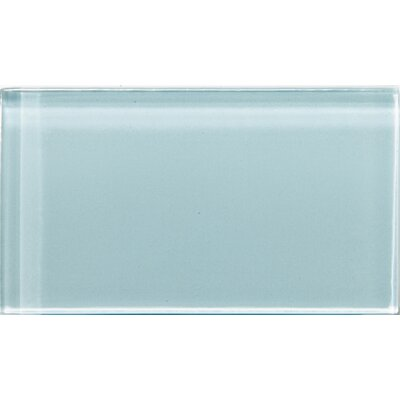 """Lucente 3"""" x 6"""" Glass Subway Tile in Cielo"""