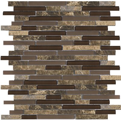 """Lucente 12"""" x13"""" Glass Stone Blend Linear Mosaic Tile in Vetro"""