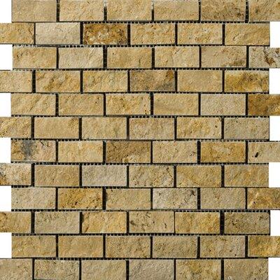 "1"" x 2"" Travertine Splitface Mosaic Tile in Gold"