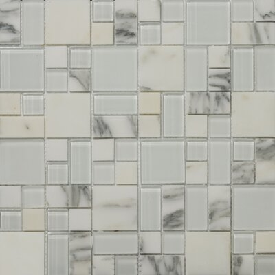"""Lucente 13"""" x13"""" Glass Stone Blend Pattern Mosaic Tile in Ambrato"""