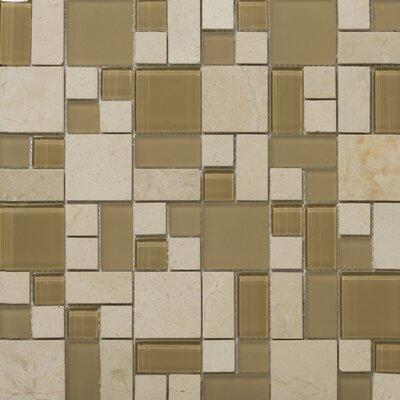 """Lucente 13"""" x13"""" Glass Stone Blend Pattern Mosaic Tile in Murano"""