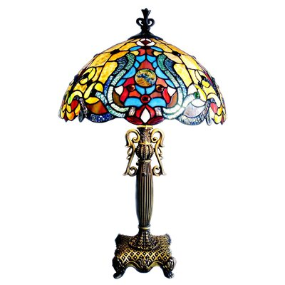 "Chloe Lighting Tiffany Victorian 25.5"" H Table Lamp with Bowl Shade"