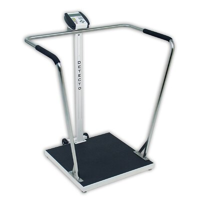 "Portable High Capacity Digital Scale with Wrap Around Tubular Handrails Capacity: 800 lb x 0.2 lb Platform 24""x24""x1.75"""