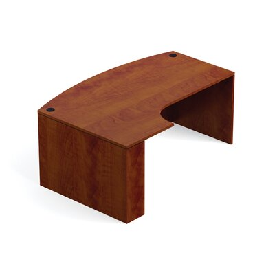 """Superior Laminate Bow Front Desk Shell with Corner Extension Size: 48"""" D Extension, Extension: Left, Finish: American Dark Cherry"""