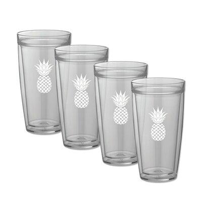 Milburn Pineapple Doublewall 22 oz. Plastic Every Day Glass