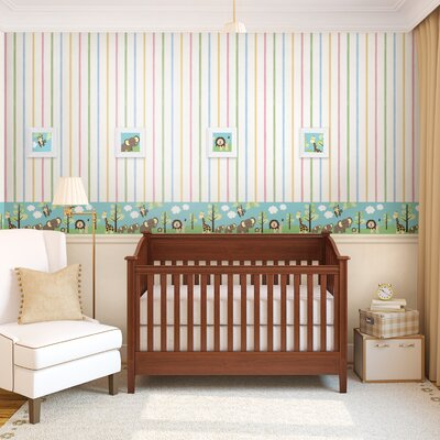 "Brewster Home Fashions Kids World Jungle Friends 33' x 20.5"" Stripe Border Wallpaper"
