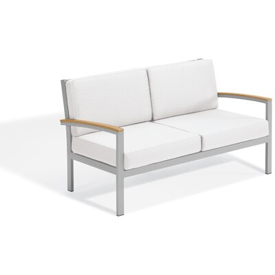 Maclin Teak Loveseat with Cushions Frame Color: Natural Teakwood/Gray, Cushion Color: Navy