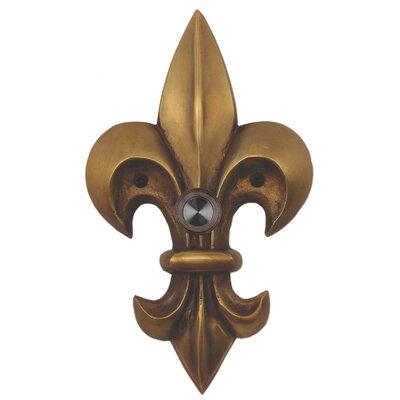 Fleur De Lis Brass Large Doorbell Finish: Antique Brass