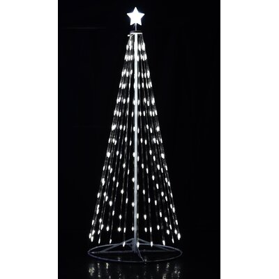 """Outdoor White LED Cone Tree with Collapsible Base and Wireless Remote Size: 144"""" H x 60"""" W x 60"""" D"""