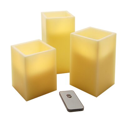 Luminarias Wax LED Square Candle with Remote Control