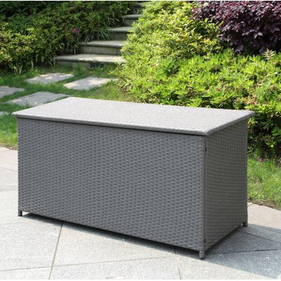 Blaker 134 Gallon Wicker Deck Box Color: Gray