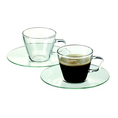 Ella Sabatini 4 Piece Simax 0.08L Hot Drinks Presso Espresso Cup and Saucer Set in Clear