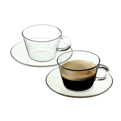 Ella Sabatini 4 Piece Simax 0.25L Hot Drinks Arga Cup and Saucer Set in Clear